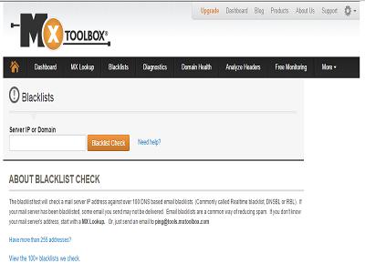 MXtoolbox blacklist