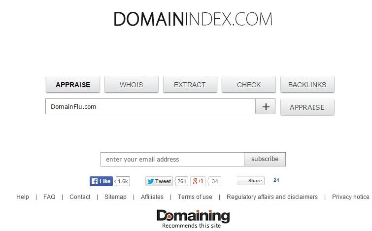 Domain Name appraisal tool domain index