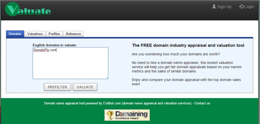 Domain name Appraisal Toold valuate