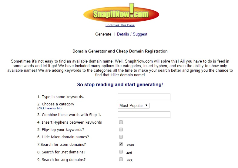 domain name generator name snap it now